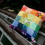 rainbow scrap cushion