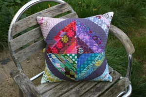 string pieced cushion