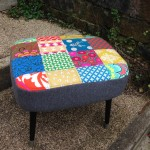 Upcycled vintage footstool - removable cover