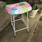 Heavy metal kitchen stool, upcycled with washable removable cover