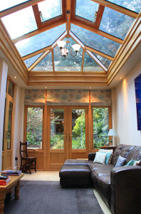 Internal view of a Timber Orangery showing the roof lantern
